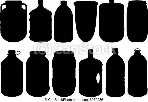 Un conjunto de diferentes botellas grandes - csp16979286