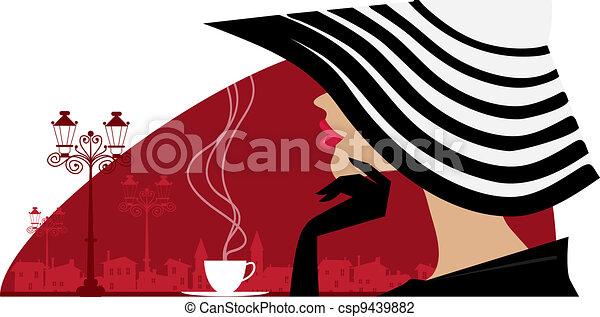 grande, donna, caffè, cappello - csp9439882
