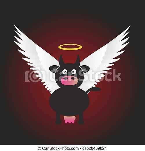 Vaca santa negra con grandes alas blancas eps10 - csp28469824