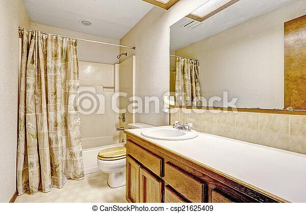 Grande, espejo cuarto baño. Cortinas, cuarto de baño, de madera ...
