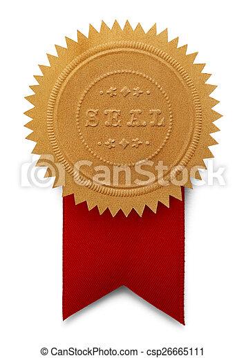 grande, fita vermelha, selo - csp26665111
