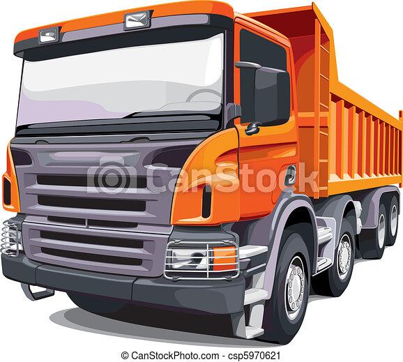grande, laranja, caminhão - csp5970621