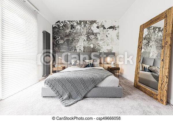 grande, legno, camera letto, specchio