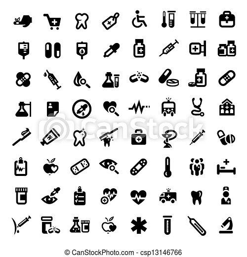 grande, médico, jogo, ícones - csp13146766