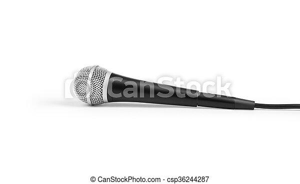Un gran micrófono negro en un fondo blanco - csp36244287