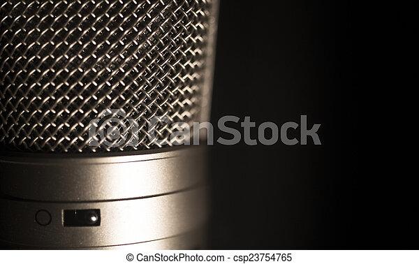 grande, microfono, diaframma, studio registrazione, professionale, voce - csp23754765