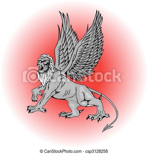 grande, mitologico, griffin.vector - csp3128258