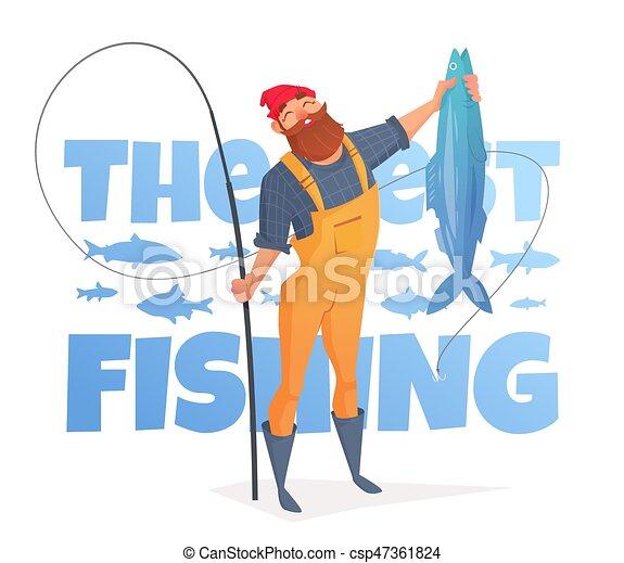 Un hombre con barba en un mono amarillo atrapó un pez gordo. - csp47361824