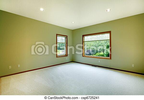 Una gran habitación vacía con paredes verdes - csp6725241
