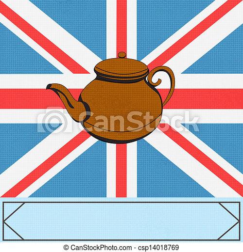 La gran tetera británica, fondo vectorial con ateapot sobre un gato del sindicato del Reino Unido - csp14018769