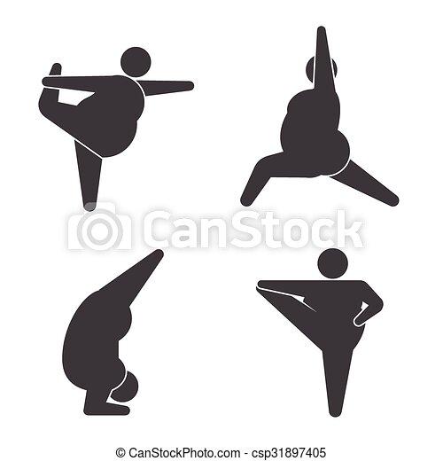 Tipos grandes en pose practicando yoga - csp31897405