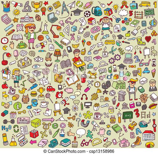 grande, scuola, educazione, collezione, icone - csp13158986
