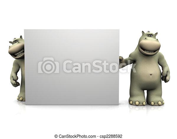 Dos hipopótamos de dibujos animados con un gran cartel en blanco. - csp2288592