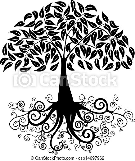 Grande Silueta árbol Archivo Vector Silueta Rizado Coloring