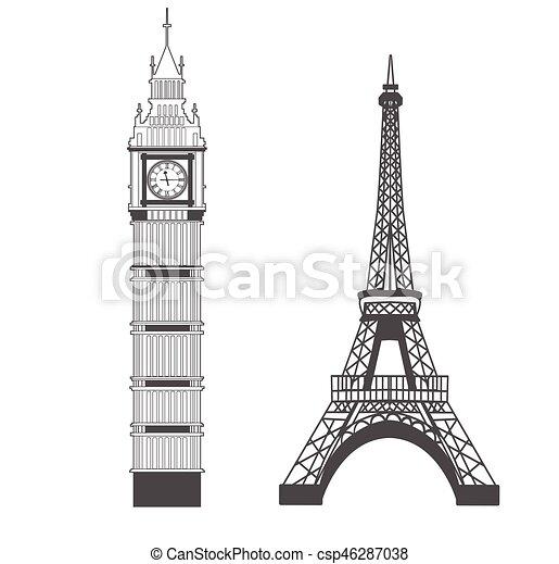 Big Ben y Eiffel Tower - csp46287038