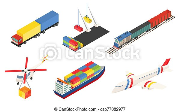 grande, trem, transport., global, logística, ar, elemento, transporte, illustration., despacho, network., tipo, marítimo, vetorial, recipiente, carga, porto, diferente, navios, trilho, truk, avião - csp77082977