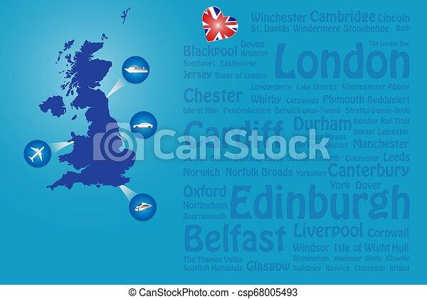 Viajan grandes lugares de Gran Bretaña con nombres de vector de plantilla - csp68005493