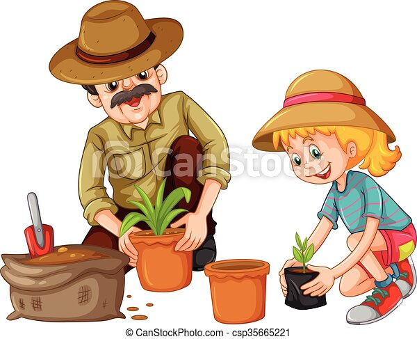 grandfather and kid planting trees illustration vector