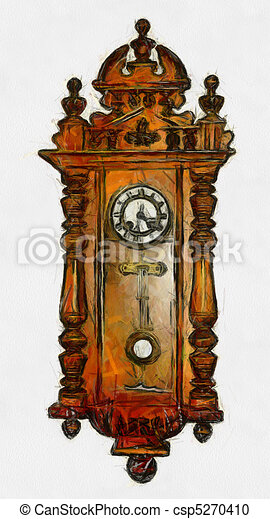 painting of isolated grandfather clock against wall stock rh canstockphoto com Cute Clock Clip Art Time Clock Clip Art