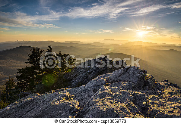 Grandfather Mountain Appalachian Sunset Blue Ridge Parkway Western NC in the mountains of North Carolina  - csp13859773