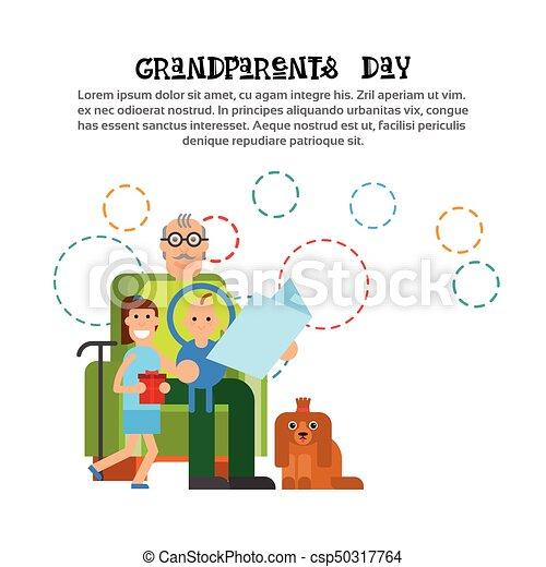 Grandfather reeding to grandchildren happy grandparents day clip grandfather reeding to grandchildren happy grandparents day greeting card banner csp50317764 m4hsunfo
