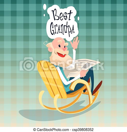 Brilliant Grandfather Sitting In Rocking Chair Best Grandpa Grandparents Day Greeting Card Squirreltailoven Fun Painted Chair Ideas Images Squirreltailovenorg