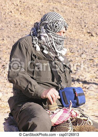 Grandfather tourist on camel 2, Sahara, Egypt, Africa - csp0126913
