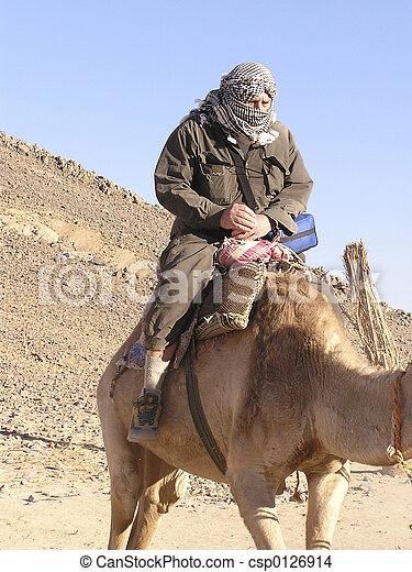 Grandfather tourist on camel 3, Sahara, Egypt, Africa - csp0126914