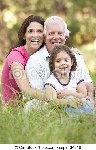 Grandfather With Daughter And Granddaughter In Park - csp7434319