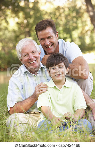 Grandfather With Son And Grandson In Park - csp7424468