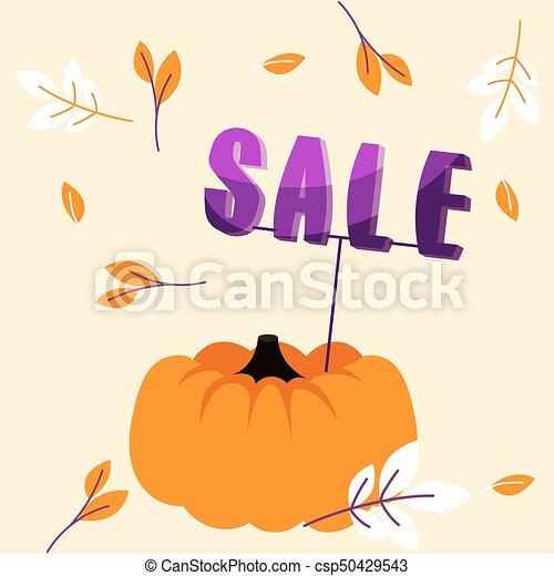 grandi foglie, vendita, autunno, cadere, vacanza, bandiera, template., zucca - csp50429543