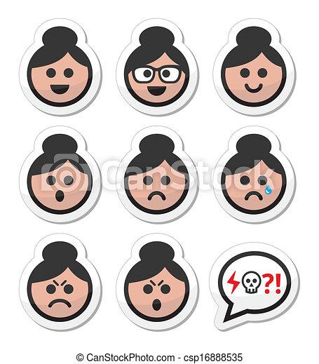 Grandma face, woman with bun hair  - csp16888535