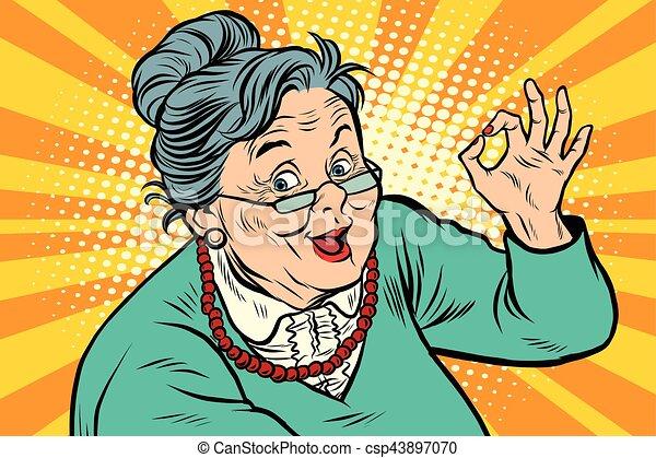 Grandma okay gesture, the elderly - csp43897070