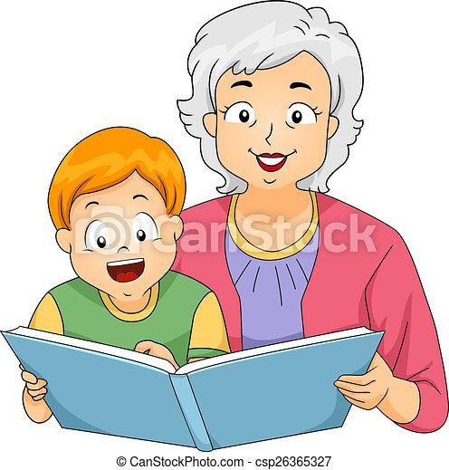 grandma reading to her grandson illustration of a clip art rh canstockphoto com clip art grandma crocheting clipart granny in a tutu