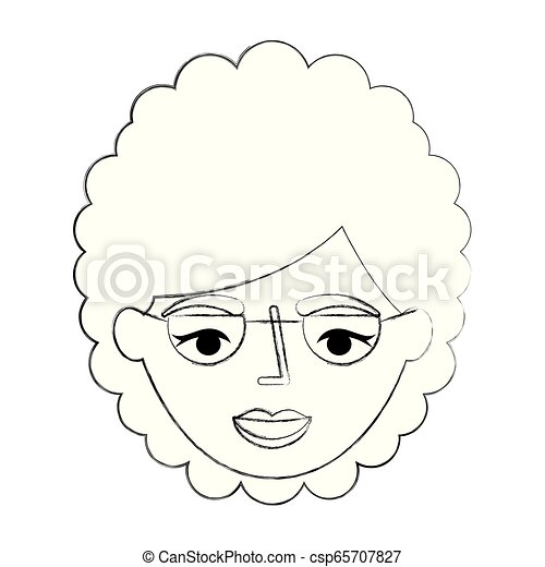 grandmother face with glasses character - csp65707827