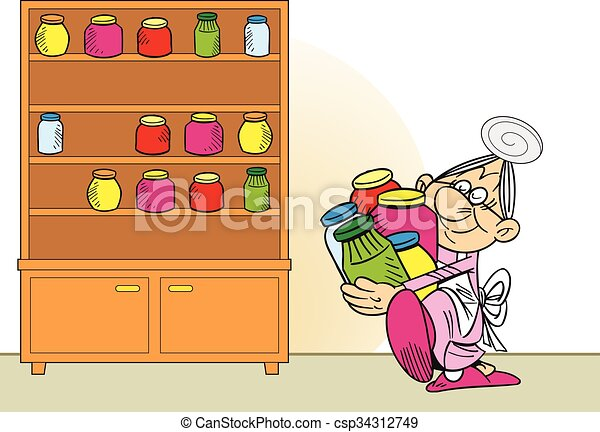 grandmother prepares jam - csp34312749