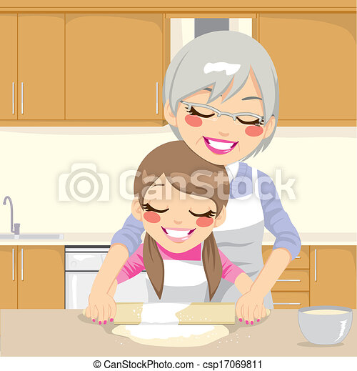 Grandmother Teaching Granddaughter Make Pizza - csp17069811