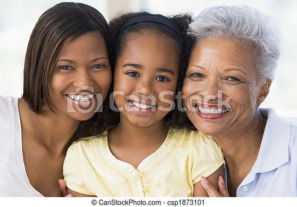 Grandmother with adult daughter and grandchild - csp1873101