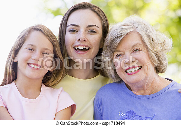 Grandmother with adult daughter and grandchild in park - csp1718494