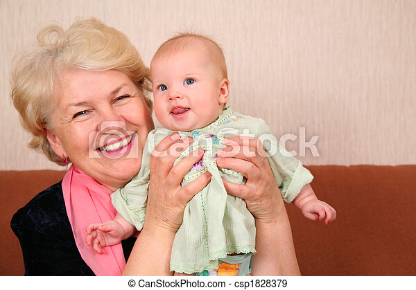 grandmother with baby - csp1828379