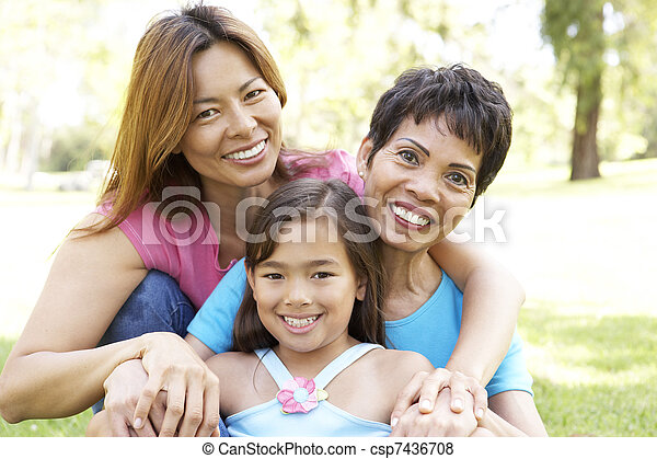 Grandmother With Daughter And Granddaughter In Park - csp7436708