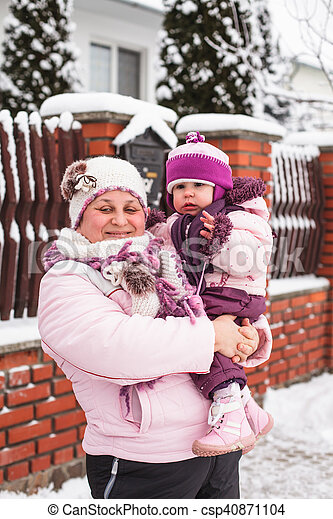 Grandmother with granddaughter for a walk - csp40871104