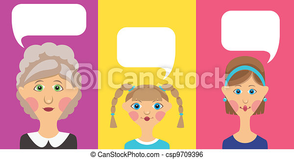 Grandmother, woman and women with bubble - csp9709396