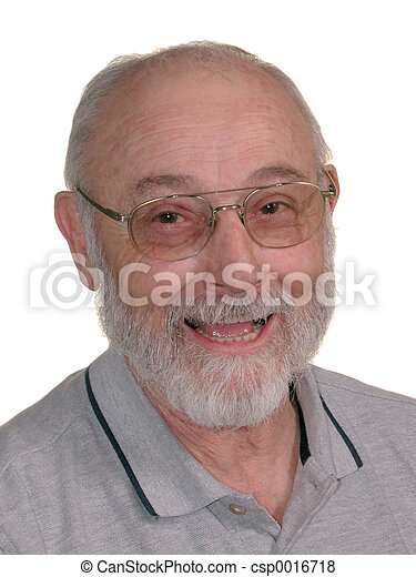 Grandpa 03. Smiling man with grey beard and glasses on white.
