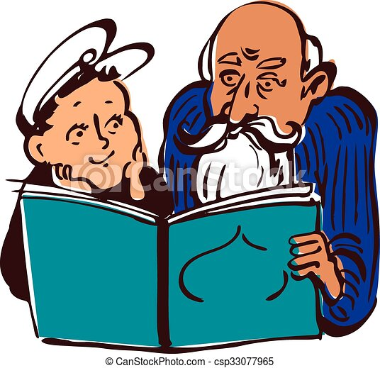 grandpa and a kid old man reading a book to a boy vector clip rh canstockphoto com old man clip art pictures old man clipart free