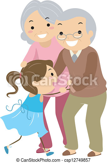 Grandparent Couples with Grandchild Stickman - csp12749857