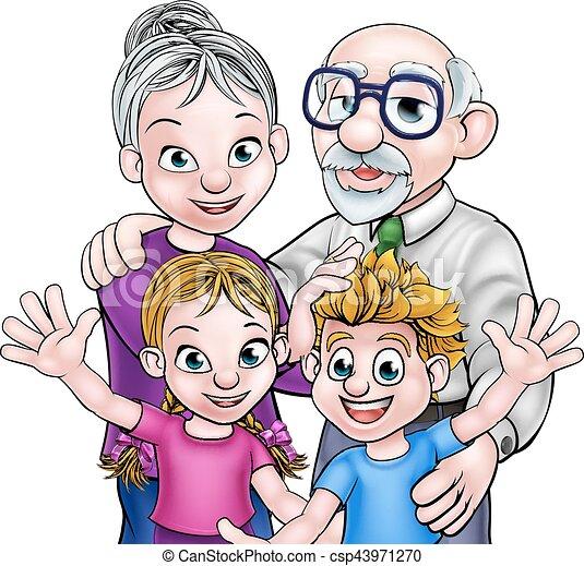 grandparents and children family scene of children and vectors rh canstockphoto com grandparents clip art free grandparents clip art free