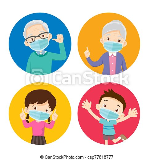 grandparents and children wearing a surgical mask to prevent virus - csp77818777