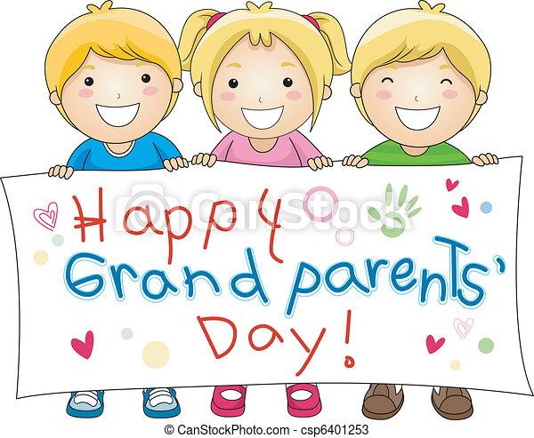 illustration of children holding a banner with grandparents rh canstockphoto com grandparents day clip art images grandparents day clipart png