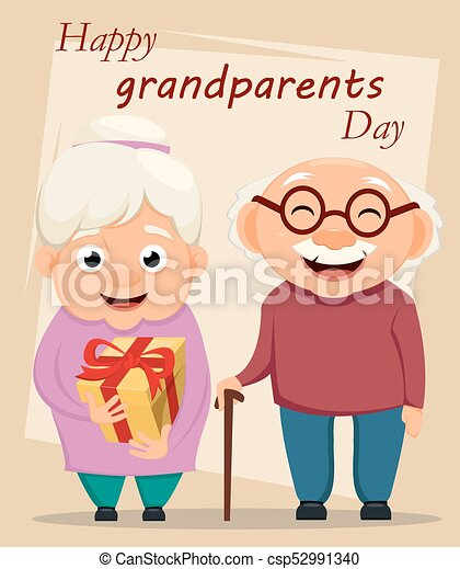 Grandparents day greeting card grandmother and grandfather standing grandparents day greeting card grandmother and grandfather standing together csp52991340 m4hsunfo